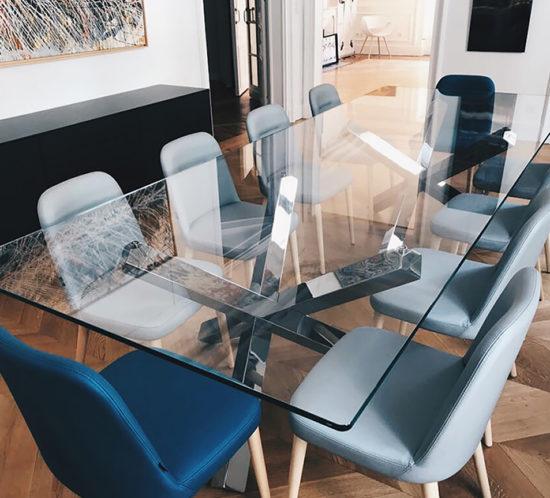 Table de réunion plateau verre